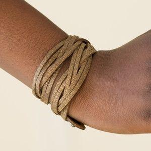 Shameless Shimmer - Brass Double Wrap Bracelet